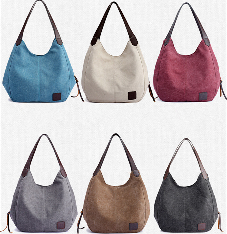 Womens Canvas Handbags High Quality Female Hobos Single Shoulder Bags Vintage Solid Multi-pocket Ladies Totes Bolsas