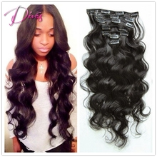 New arrival high quality 6A body wave clip in human font b hair b font extension
