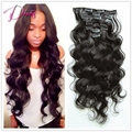 New arrival high quality 6A body wave clip in human hair extension natural color brazilian virgin hair
