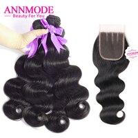 ANNMODE שלושה חלק סגירת תחרה גל גוף פרואני רמי שאינו 3 Weave שיער חבילות צבע טבעי צרורות שיער אדם עם סגירת