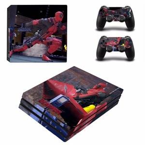 Image 3 - Deadpool Ontwerp Vinyl Skin Sticker Protector Voor Sony Playstation 4 Pro Console + 2 Stuks Controller Skin Sticker Cover Voor PS4 Pro