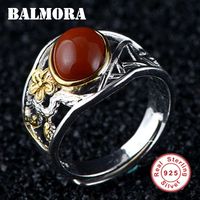 BALMORA 925 Sterling Silver Chalcedony Flower Resizable Rings for Mather Vintage Fashion Jewelry Anillos Christmas Gift TRS22205
