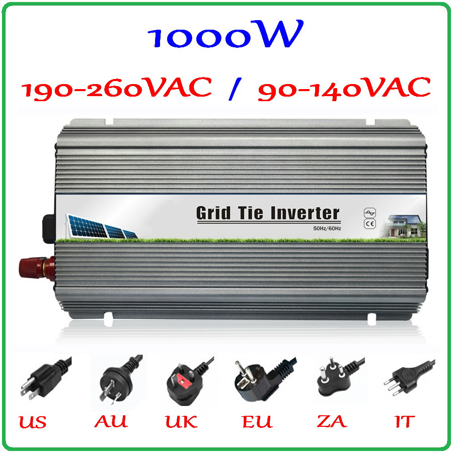 1000W Grid Tie Inverter MPPT Function, 10.5-28VDC Input to 110V/220VAC Pure Sine Wave Output Micro on grid tie inverter 1000W 1500w grid tie power inverter 110v pure sine wave dc to ac solar power inverter mppt function 45v to 90v input high quality