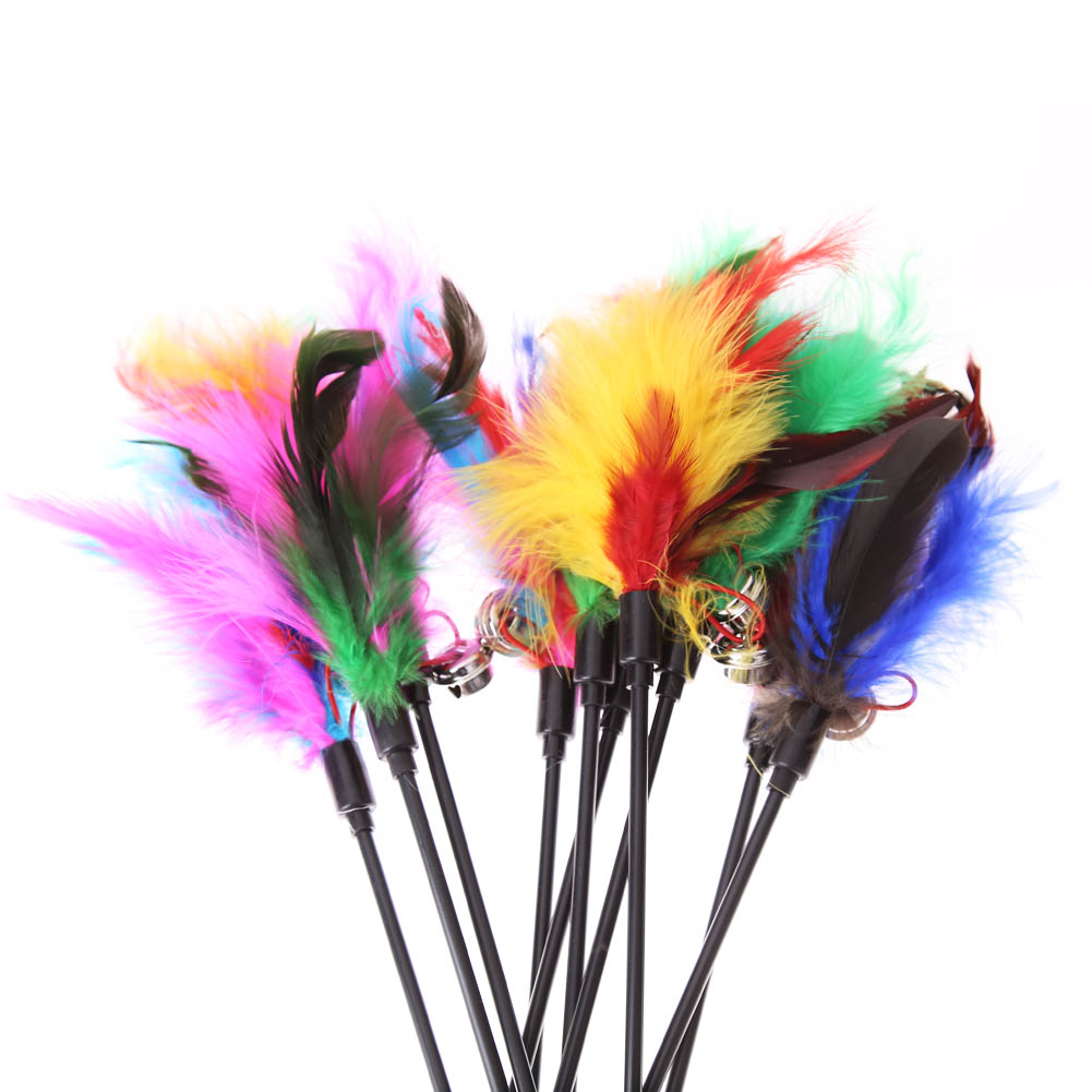 5pcs cat toys soft colorful cat feather bell rod toy for cat kitten funny playing interactive toy pet cat supplies 5Pcs Soft Colorful Cat Feather Bell Rod Toy HTB1akivPFXXXXafXpXXq6xXFXXXP
