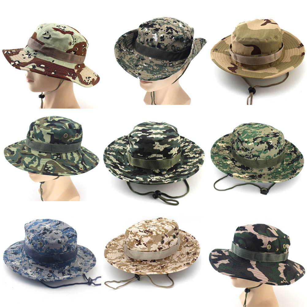 Dropwow Camouflage Bucket Hats Wide Brim Sun Cap Ripstop Camo Fishing  Hunting Hiking Men Safari Summer Jungle with String Hat 31791c8e0847