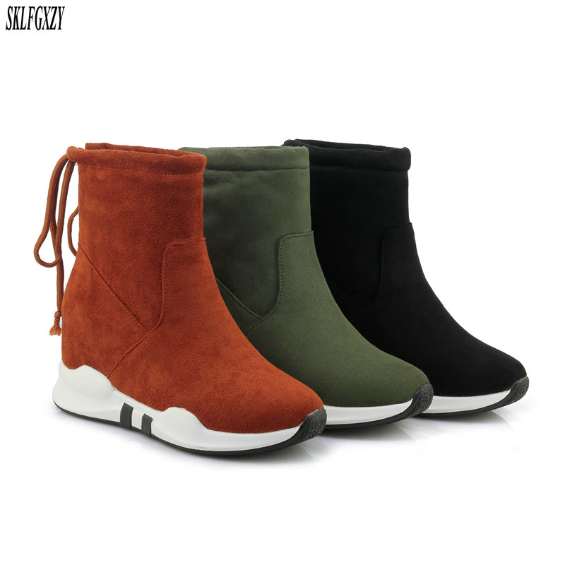 SKLFCXZY New arrival winter plush snow boots comfortable thermal boots rear ribbon warm women shoes large size 34-45