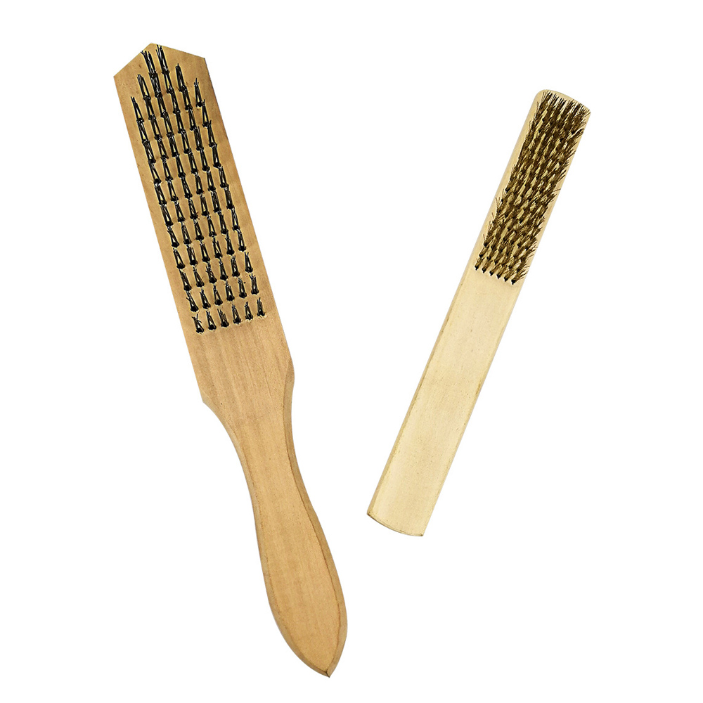 2Pcs Brush Wooden Handle Wire Industrial Rust Removal Brusher ...