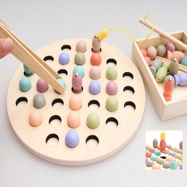 Toys For Children Montessori Education Wooden Beads Clip Fish Magnetic Math Toy Multi-function Educational Puzzle Toys 038
