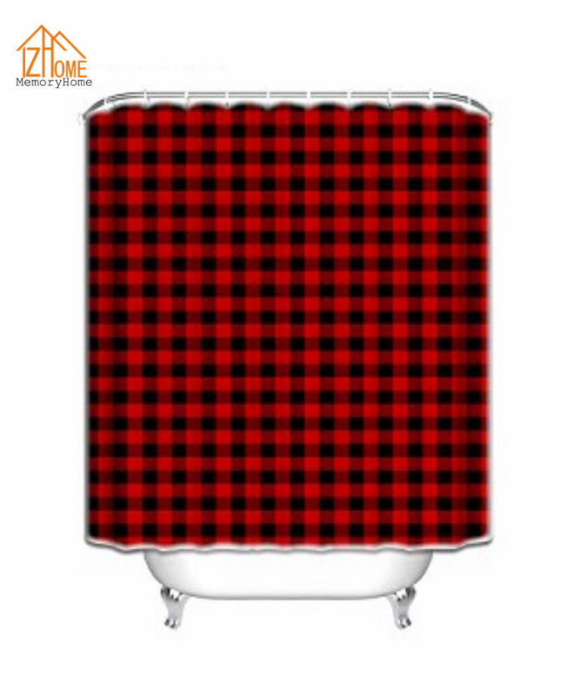 Memory home custom waterproof shower curtains rustic red black buffalo check plaid pattern fabric shower curtain in shower curtains from home garden on