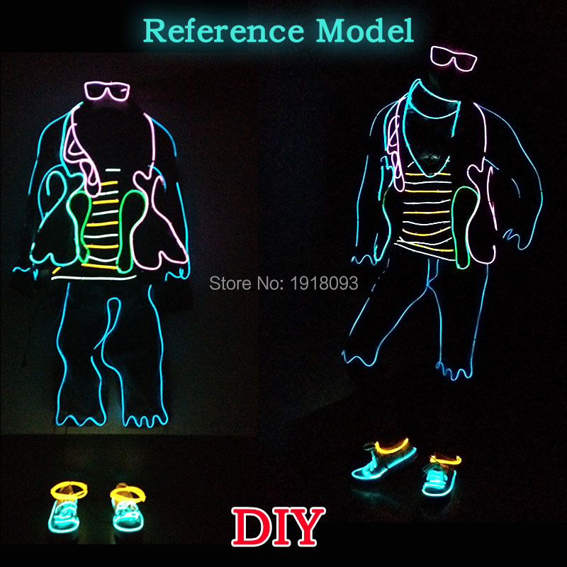 Glowing DIY Material EL LED Strip Suit Luminous Costumes Light Clothing for Holiday Lighting Supplies luminous costumes glowing gloves shoes light clothing men dance clothes for holiday lighting decor