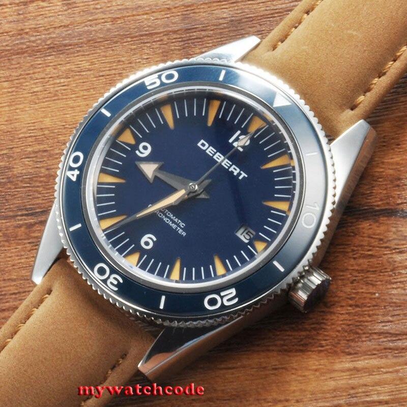 лучшая цена 41mm debert blue sandwich dial sapphire glass miyota Automatic mens Watch D92