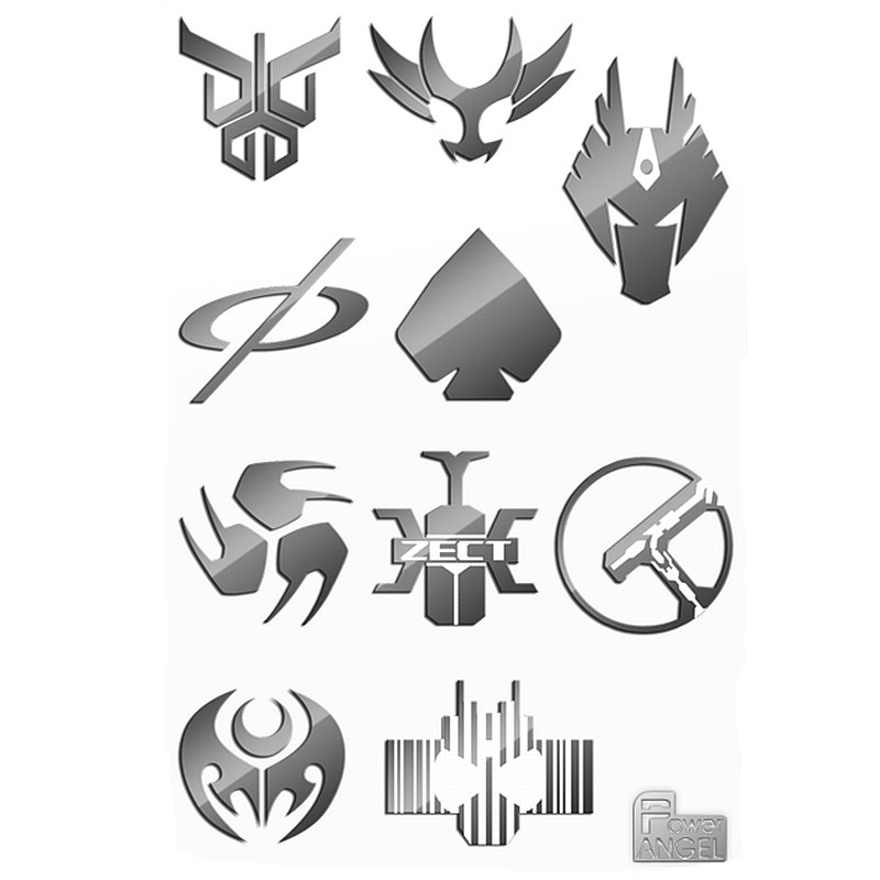 PowerAngel 3D DIY Metal Sticker Masked Rider Build Stickers For Mobile Phone Laptop Waterproof Decal Sticker