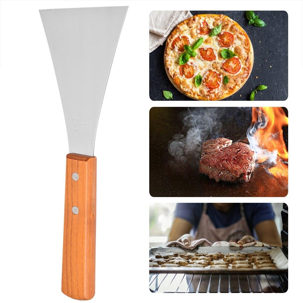 Новая кухонная Лопатка деревянная ручка из нержавеющей стали барбекю скребок для решетки для гриля блинов Флиппер