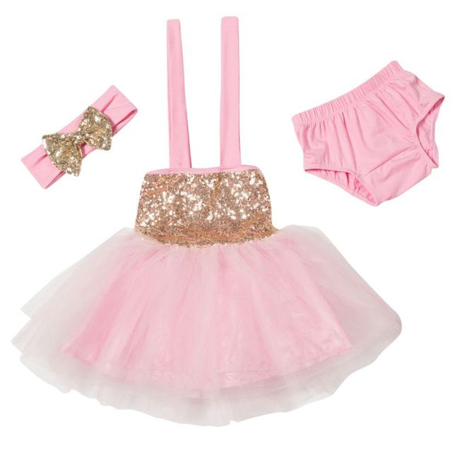 4d04a57143 Pink Sequined Glitter Tulle Princess Girl Toddler Baby Dress