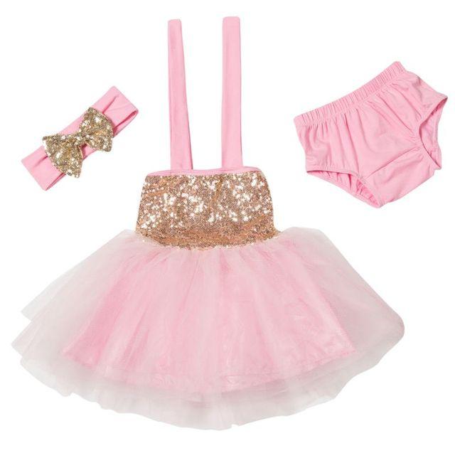 Rosa lentejuelas brillo tulle princesa vestido del niño, 1st ...