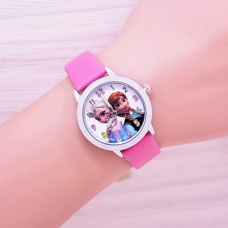 Hot Cartoon Princess Elsa Crystal Children Watch 2017 New Fashion Girls Kids Student Quartz Wristwatch Cute Leather Strap Clock 2016 new relojes cartoon children watch princess elsa anna watches fashion kids cute relogio leather quartz wristwatch girl gift