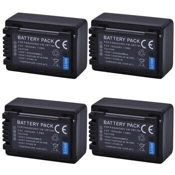 4Pc 1950mAh VW-VBT190 VBT190 VW-VBT380 VBT380 Battery for Panasonic HC-V110, HC-V130, HC-V160, HC-V180, HC-V201, HC-V250,HC-V260
