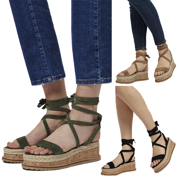2018 New Fashion Women Flat Wedge Espadrille Sandals Lace Tie Up Platform Summer Beach Shoes LBY2018 strappy tie up flat sandals