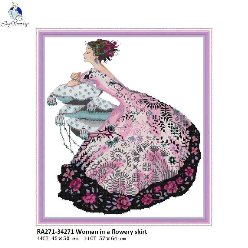 Woman in floral Dress Patterns 11CT Printed Fabric 14CT Counted Canvas DMC Cross Stitch Kits Embroidery Needlework Home Decor