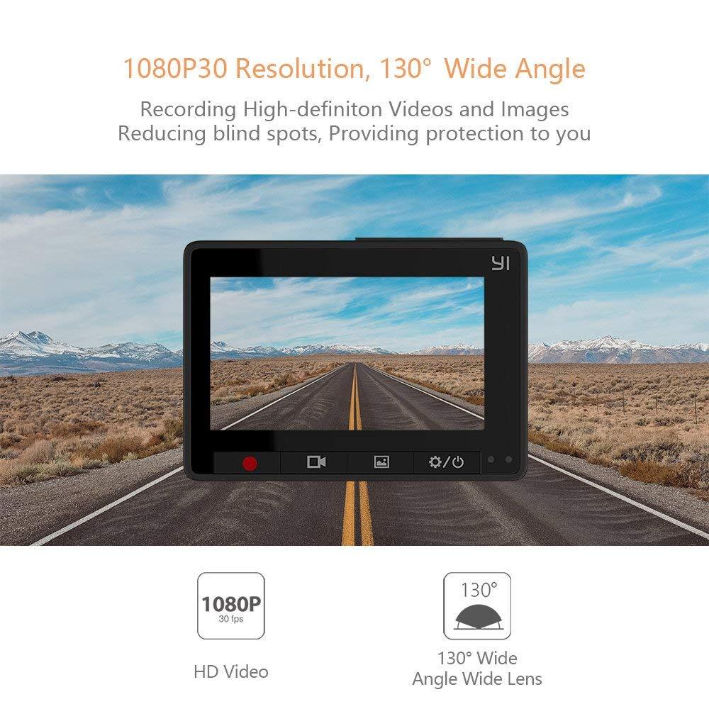 YI Compact Dash Caméra 1080 p Full HD caméra de tableau de bord de voiture avec 2.7 pouces écran lcd 130 WDR Lentille G-Capteur vision nocturne noir - 2
