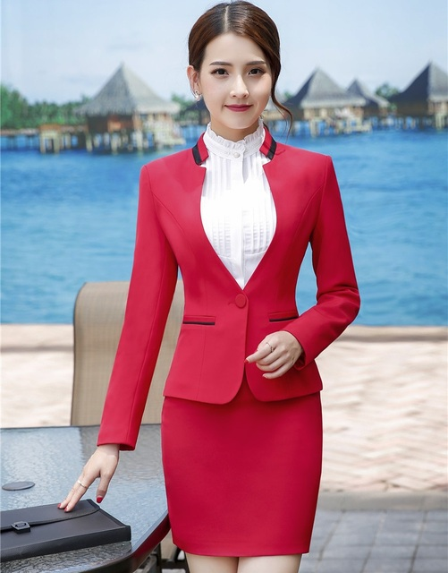 e Signore Formal Donna Red Set Elegante con Blazer Gonna Giacca Da 7OwHOSRqF