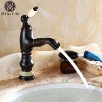 Высокое качество один jade ручка Ванная комната вытащить кран на бортике мытья волос смесители воды Поворот Носик одно отверстие