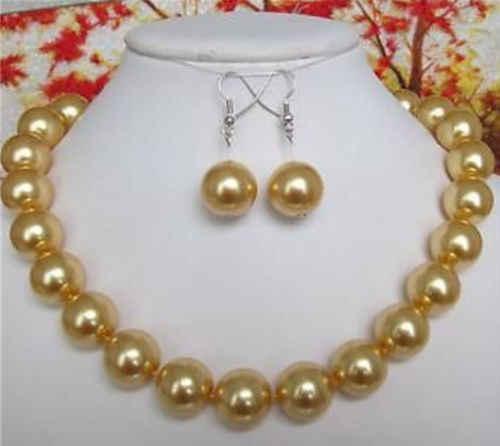 """מפעל מחיר של מילה יפה נשים 12MM זהב דרום ים פגז פרל שרשרת עגילי 18 """"גברת של $ תכשיטי יוקרה בנות חתונה"""