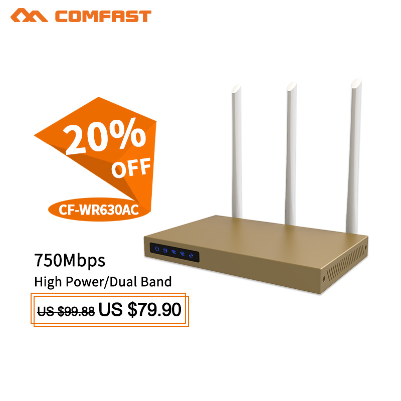 COMFAST 750Mbps 5Ghz&2.4Ghz AC wifi router 500m sq wifi coverage high power wi-fi amplifier router with 3*6dBI antennas booster comfast 750mbps 802 11ac dual band wireless router with 6 6dbi antenna wifi 128mb ddr high power wifi router wi fi wide coverage