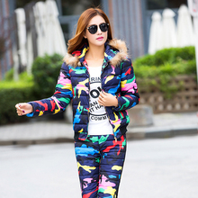 Fashion Women Sets 2017 New Winter Casual Pants And Top Suit Long Sleeve Star Print Pattern Personalized Design Female Sets