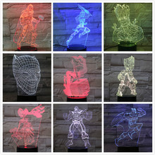 Usb 3d Led Night Light Marvel The Avengers Superheros Thor Hammer Rocket Raccoon Groot Thanos Figure Table Lamp Bedroom Neon
