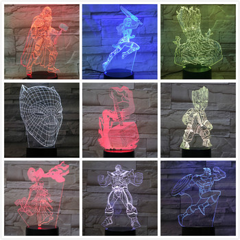 цена Usb 3d Led Night Light Marvel The Avengers Superheros Thor Hammer Rocket Raccoon Groot Thanos Figure Table Lamp Bedroom Neon онлайн в 2017 году