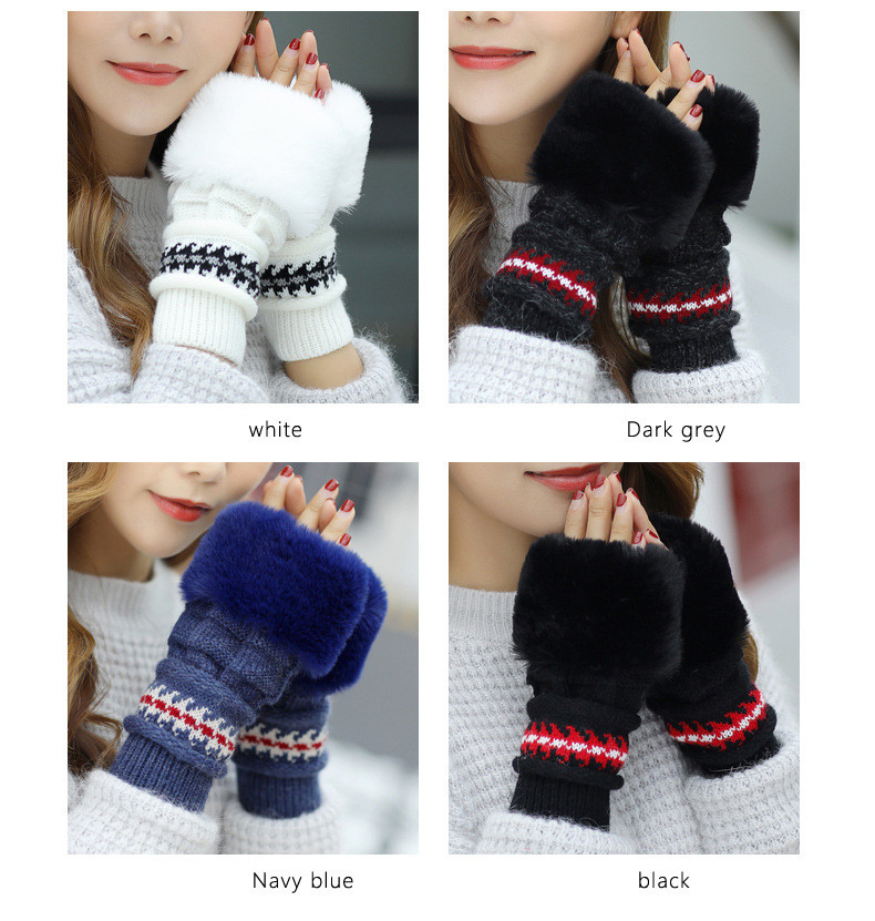 New Autumn And Winter Korean Version Of The Warm Women Hat Gloves Set Knitted Hair Ball Two Sets Of Ladies Thickening HC37 (1)