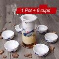 220 мл термостойкий стеклянный чайный набор Китайский кунг-фу цветочный керамический чайник с фильтром чайником синий и белый фарфоровые на...