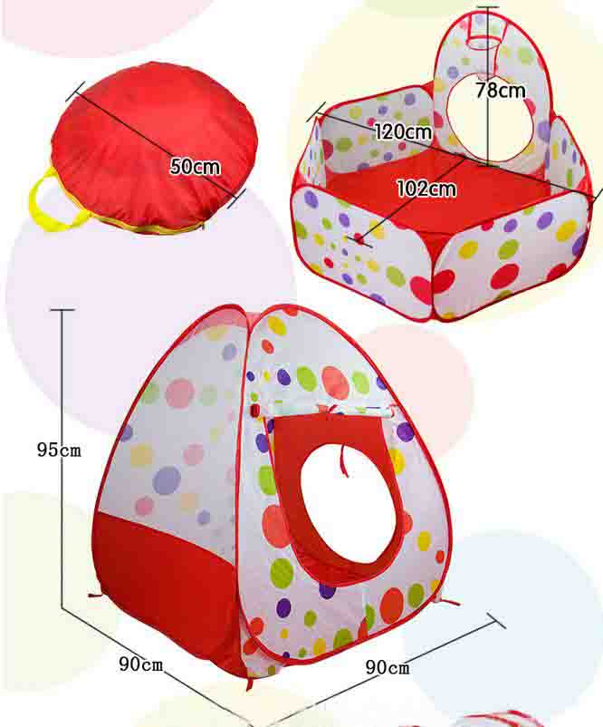 Portable Large Pool-Tube-Teepee 3pc Pop-up Play Tent Children Tunnel Kids Play House Kids Toy Tent