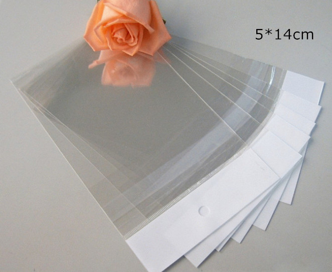 5*14cm 5000Pcs/ Lot Event Soft Clear Self Adhesive Seal Poly Package Bag Retail Plastic Packing Pouch W/ Hang Hole Hot Sale