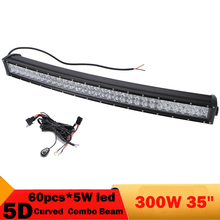 300W 5D 34 Inch Curved Led Light Bar Truck Boat Marine Agriculture Vehicle lighting 4X4 4WD Combo Day Running Lamp Driving Light