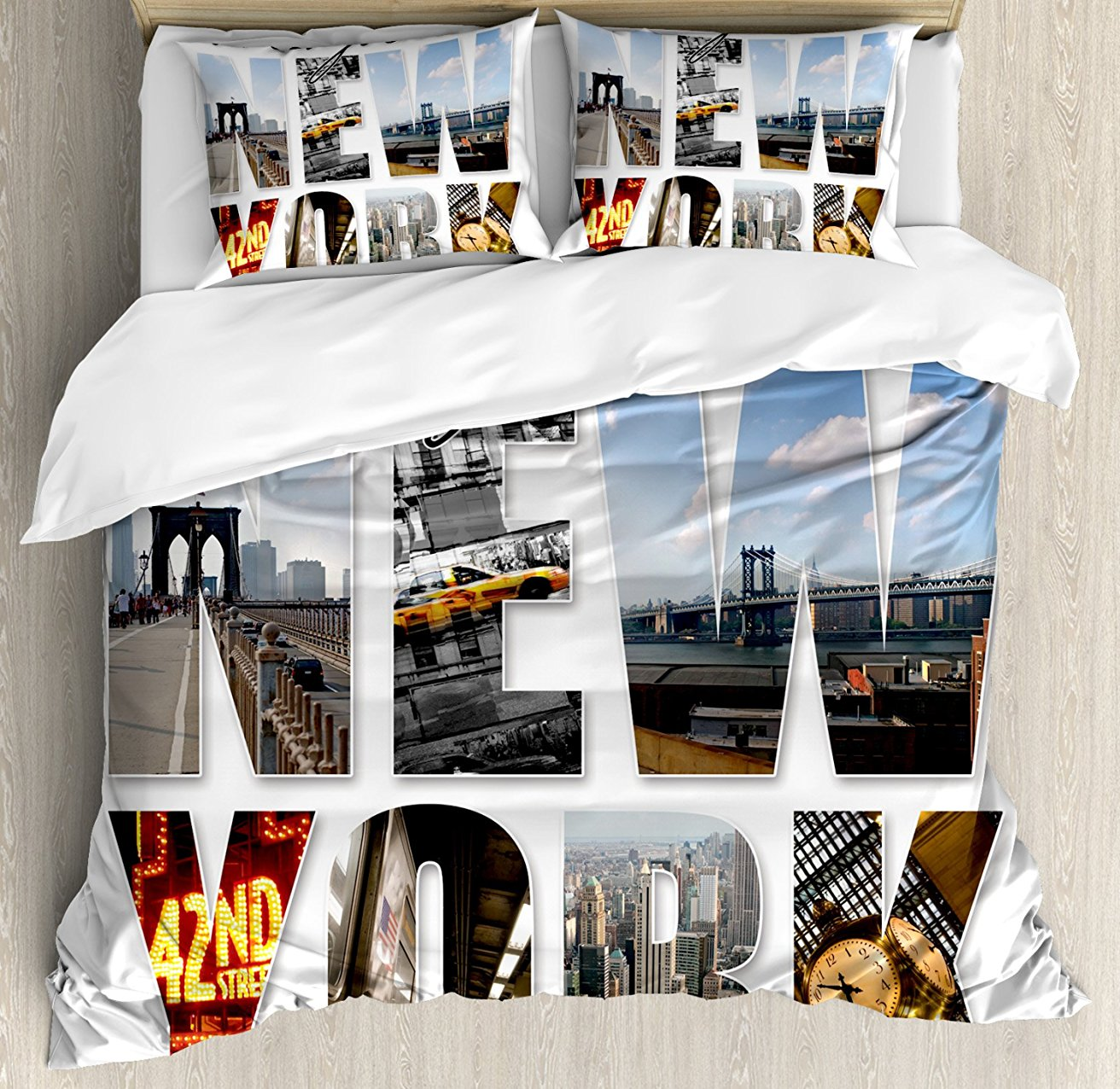 NYC Decor Duvet Cover New York City Themed Collage