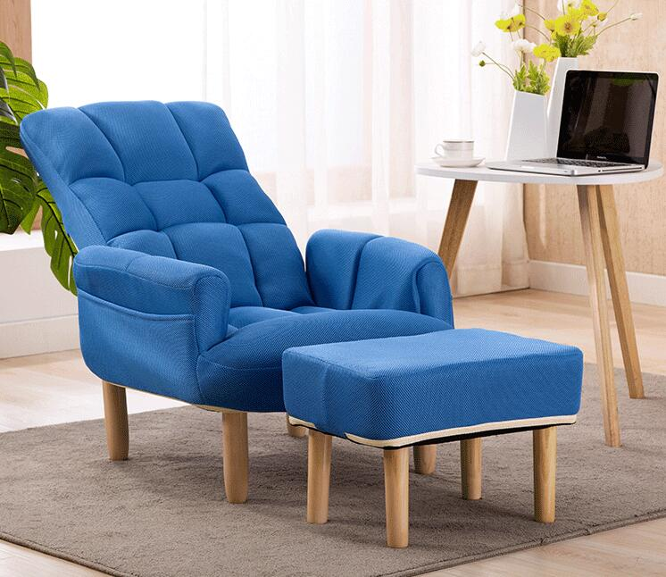 Lazy Sofa Chair Armchair With Footstool Armrest Living Room Backrest Headrest Adjustable Accent Chair Ergonomic Seat Recliner