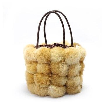 New Bucket Bag Famous Design Real Fur Women Handbag Soft Rabbit Hair Fur String Shoulder Bag Elegant Winter Snow Bag Black