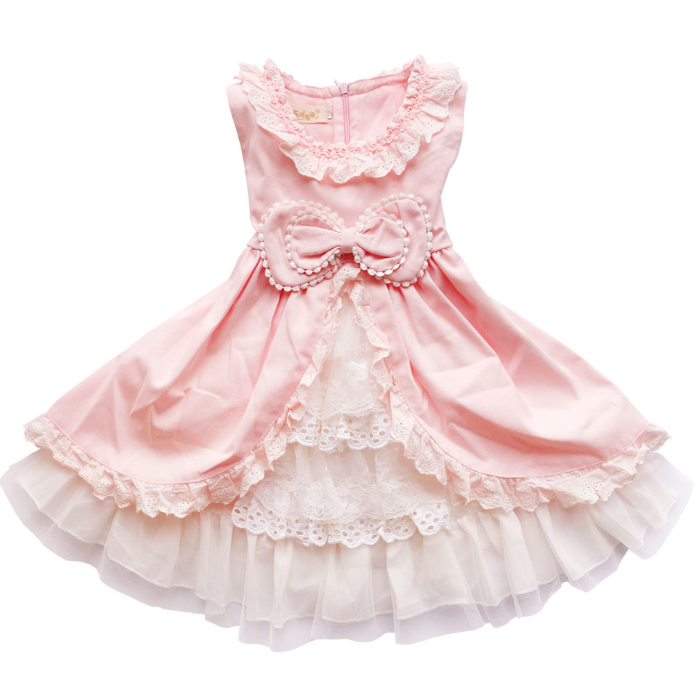 Baby Girls dress 2017 new children lace princess Bow clothes toddler School wear wedding dresses for kids 3 6 8 10 11 years old