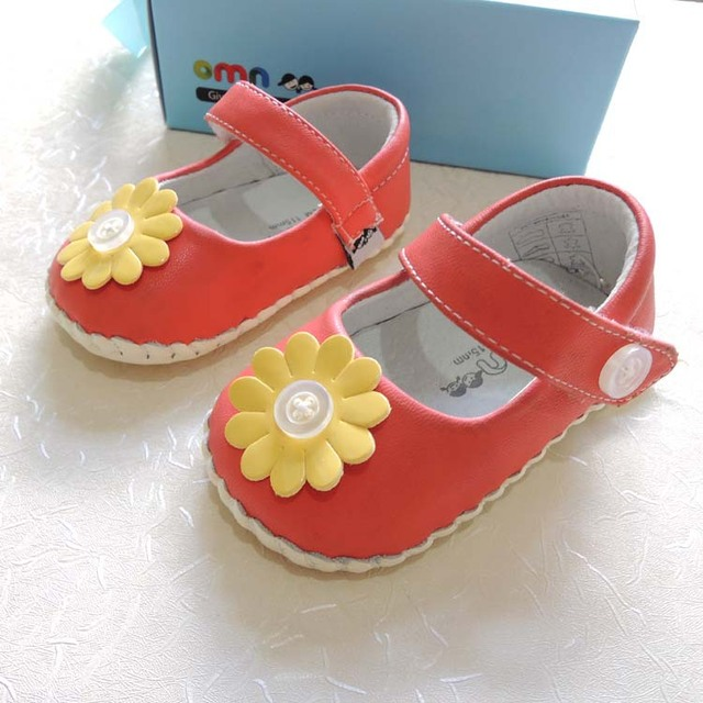 2017 Spring Autumn OMN Genuine Leather Princess Girls Shoes Soft Sole Indoor Toddler Shoes Baby Girls First Walkers