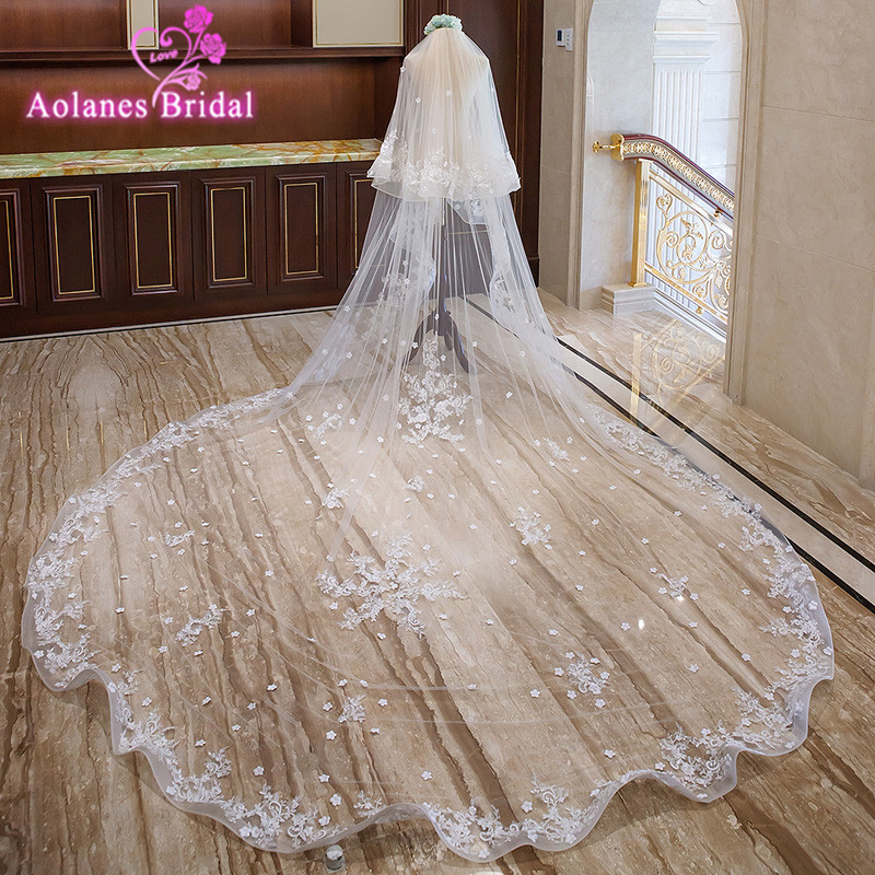 2018 New Nature White 3M Wide 3.5M Long Cathedral Veil Spring Pencil Edge Two-layer Bridal Veils With Comb Wedding Accessories