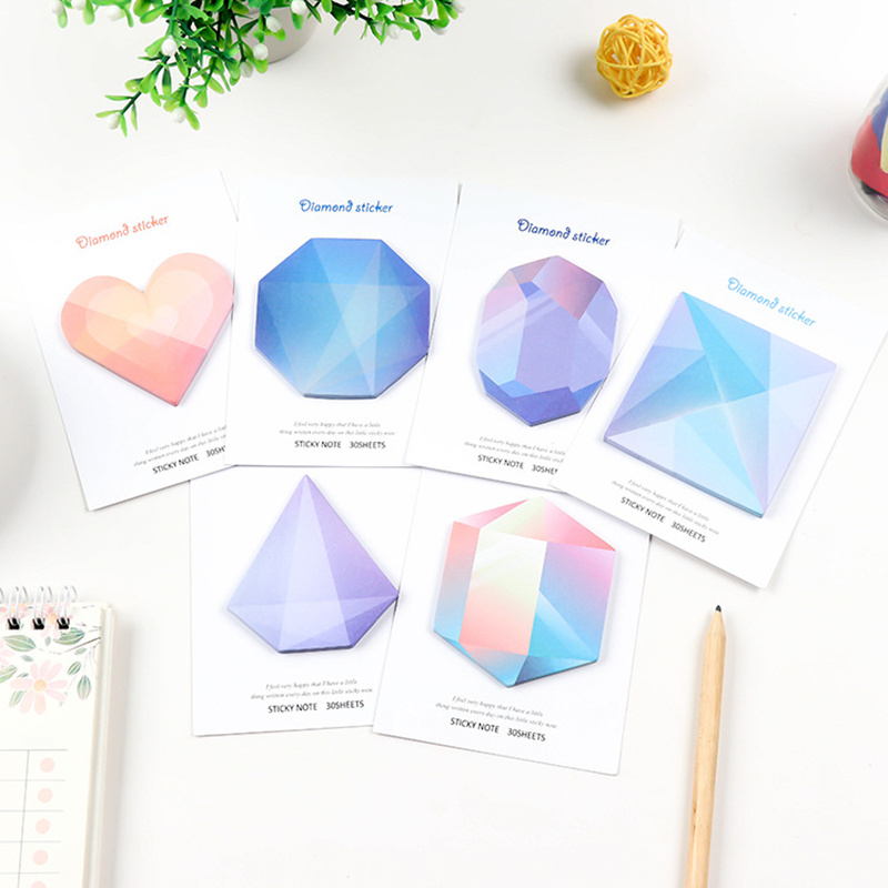 JUKUAI 6 Pcs/Lot Diamond Stickers 30 Sheets Memo Pad And Sticky Notes Gradient Color Note Post Stationery Office Supplies 8055