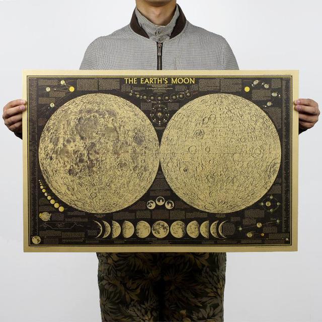 Vintage Poster Globe World Map Moon lunar Poster Map Wall Sticker Wallpaper Art Posters Vintage Retro Paper 72*48cm