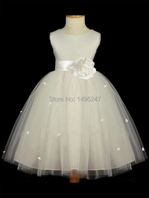 Быстрая доставка милая девочка первое причастие платья Scalloepd шеи Cap рукавом бальное платье цветок девочки платья с цветок Sahses