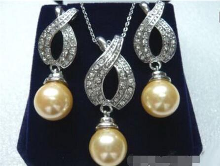 Free shipping Wholesale price  + Yellow Shell Pearl 18KWGP Crystal Pendant Necklace Earrings $30%
