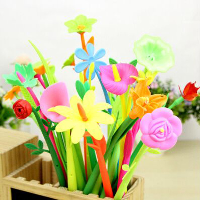 12 pieces lot leaves Flower Ball point pens soft plastic Green plant Office Decorative write gift
