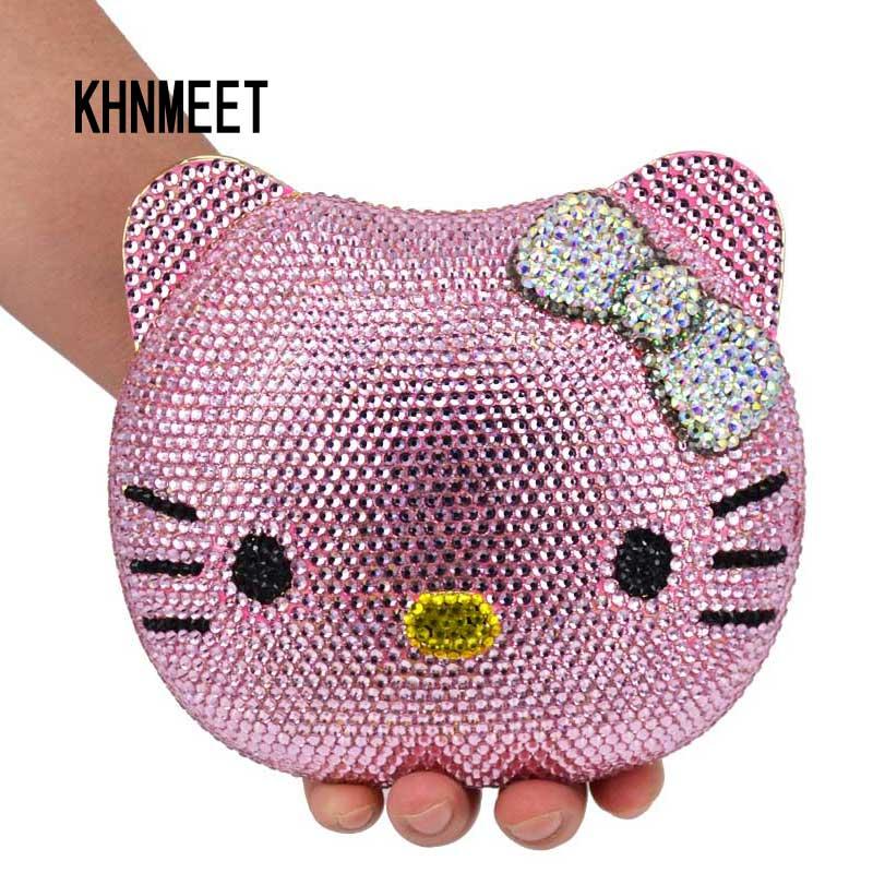 Cartoon Cat Face evening bag cartoon girl Handbags animal crystal Clutch bag diamond party Purse ladies prom Shoulder bag SC025