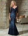 Dreagel Venda Quente Com Decote Em V Metade Mangas Sereia do Assoalho-comprimento Mãe Do Vestido Da Noiva Apliques Delicados Frisada Formal Do Partido vestido