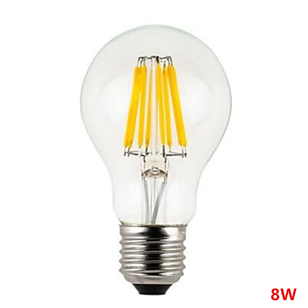 Retro LED Filament Bulb A60 2W/4W/6W/8W E27/E26 AC220V/110V Warm White/Cold White Dimmable Clear Glass Shell Edison Retro Lamp e27 led 8w white warm white cob led filament retro edison led bulbs 85 265v